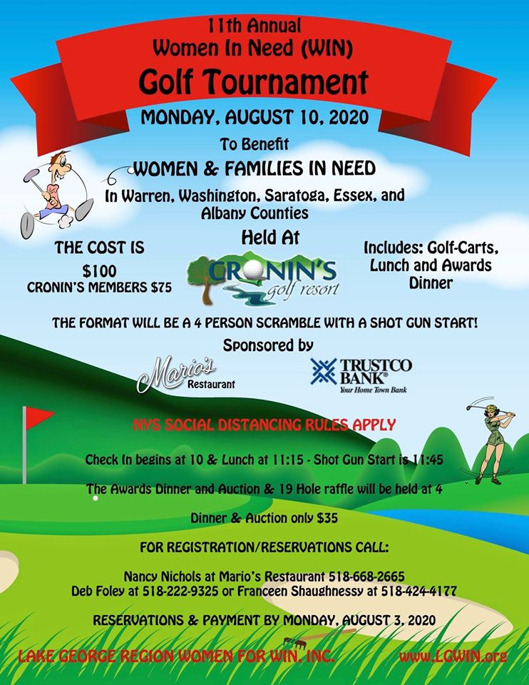 11th ANNUAL WIN GOLF TOURNAMENT ~ August 10th, 2020